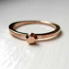 Tiny rose gold ring - modern engagement ring - stack ring - faceted metal - alternative engagement ring via Etsy