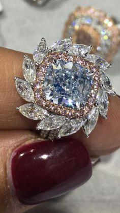 DeBeers Rare Fancy Vivid Blue DIamond Ring