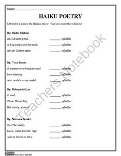 Haiku Poetry Worksheets and Templates by Innovative Teacher