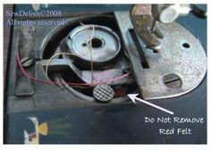 Singer Antique 66-1 Sewing Machine Red Felt Bobbin Case ~ Do not remove red felt.
