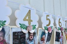 Floral Photo Banner - Floral Monthly Milestones - Monthly Photo Banner - Boho Floral Banner - Wild One Photo Banners -Wild One Birthday Girl Girl First Birthday, First Birthday Parties, First Birthdays, Milestone Pictures, Monthly Pictures, Personalised Vinyl Stickers, Floral Banners, Paper Banners, 1st Birthday Decorations