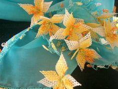SALEGIFT Silk ScarfNeedle LaceworkPumpkin Blossom by ElaEda, $89.99