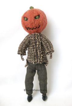 Pumpkin Head Art Doll #artdoll #Halloween #creepycute #ooak #BentWhimsStudio