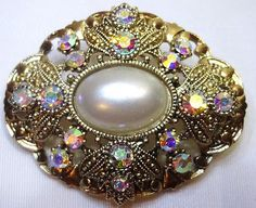 Beautiful Estate Vintage Faux Pearl & Crystal Rhinestone Brooch Pin RARE!