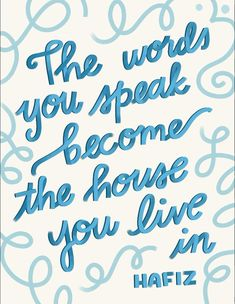 'The words you say become the house you live in ' letras Procreate Lettering Cursive, Handwriting Alphabet, Hand Lettering Alphabet, Caligraphy Alphabet, Lettering Styles, Brush Lettering, Script Lettering, Lettering Tattoo, Tattoo Script