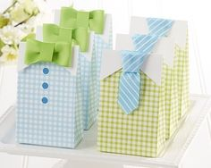 My Little Man Blue Green Bow Tie  Birthday Boy Baby Shower Favor Candy Treat Bag