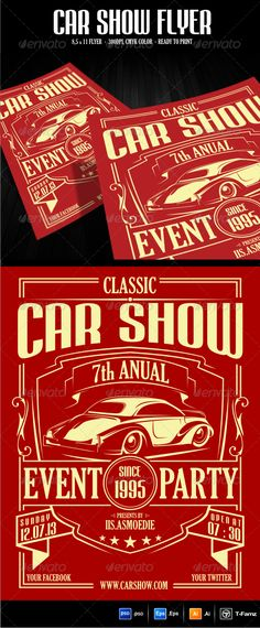 Car Show Flyer Template #GraphicRiver .300DPI .With size 8.5×11 .CMYK color .you will get 3 file : .AI .EPS & .PSD Fonts used: .dafont /mabella.font .dafont /thereconlegendfont.font Full Instruction are provided in README file Cheers….! Created: 19October13 GraphicsFilesIncluded: PhotoshopPSD #VectorEPS #AIIllustrator Layered: No MinimumAdobeCSVersion: CS PrintDimensions: 8.5x11 Tags: AutomotiveFlyer #anual #automotivedesign #carshowflyer #classiccar #classicflyer #eventflyer #flyertemplates…