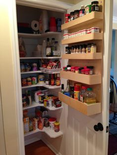 Pantry- replacing deep shelves with wrap around shelves and door mounted shelves