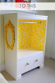 This is one of the nicest transformations ever!  My only change might be to have left the original drawer spaces and use baskets...I have NEVER seen a kid who would be willing to hang up their dress up clothes!