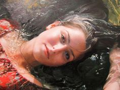 Artist: Yigal Ozeri, oil on canvas {contemporary figurative realism art beautiful female supine reclining woman #hyperreal painting} yigalozeriartist.com