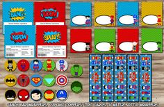 Superheroes Birthday Party Pack Character by SewKawaiiKids on Etsy (Love these little superhero characters)