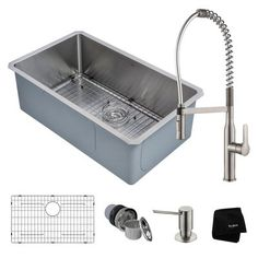Kraus Handmade x Satin Single Bowl Undermount Commercial/Residential Kitchen Sink All-in-One Kit at Lowe's. Build a better kitchen with the Kraus complete kitchen set. Our best-selling undermount sink and Nola™ commercial faucet are an ideal