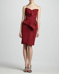 J. Mendel Strapless Dress, Bordeaux