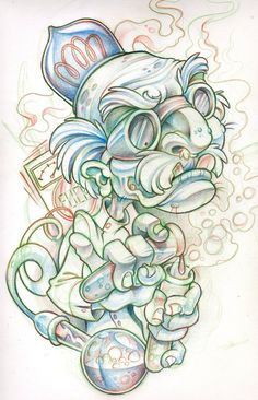 Mad scientist by xeviousthegreat--cute but not for me lol tattoo sketches, drawing Tattoo Design Drawings, Tattoo Sketches, Drawing Sketches, Drawing Ideas, Flash Drawing, Graffiti Drawing, Graffiti Art, Beautiful Drawings, Cool Drawings