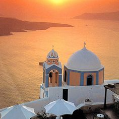I want to go to Greece so much. Santorini Island overlooking the volcano and the caldera cliffs
