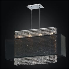 Urban Essentials Crystal Four Light Pendant with Double Lined Sheer Shade
