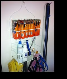 A shower caddy for the dog's stuff.  Keeps everything in one place and organized.