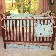 Beautiful Crib Bedding with crib skirt with Flat style in Red Ticking, band at bottom in Western States, welt in Poplin Chocolate, split corners, drop. Crib Bedding Sets, Baby Bedding, Christening Gifts For Boys, Crib Skirts, Make Your Own, 3 Piece, Cribs, Unique Baby, Furniture