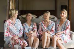 The bridesmaids in their plum pretty sugar robes at Chateau Rigaud, Bordeaux