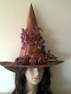 Witch Hat Autumn Leaves and Roses Witches by MermaidenCreations