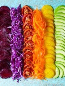 Amazing RAINBOW Roasted Vegetable Salad with Fresh and Sweet Roasted Veggies topped with Pesto Vinaigrette!