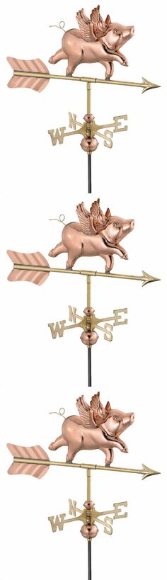 Weathervanes 20512: When Pigs Fly Weather Vane With Garden Pole Polished Copper Garage Gazebo Shed -> BUY IT NOW ONLY: $148.63 on eBay!