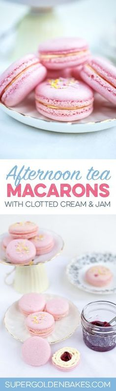Afternoon tea macarons with clotted cream and jam | Supergolden Bakes