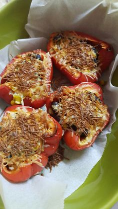 Red beans corn and onion stuffed pepper