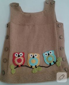 Our owl gilet dress is here again for the age of years is increased .- Baykuşlu jile elbisemiz yine karşınızda resimdeki içindir yaş artt… Our owl gilet dress is here for the age in the picture increases with age increases in price to - Knitting For Kids, Baby Knitting Patterns, Knitting Blogs, Baby Patterns, Crochet Patterns, Cardigan Bebe, Knitted Baby Clothes, Baby Sweaters, Sweaters For Women