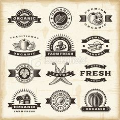 Vintage organic harvest stamps set Royalty Free Stock Vector Art Illustration