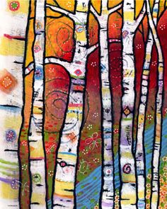 The Trees Sing to the River - Magical Woodlands Print by Lindy Gruger This is a print made from my original acrylic painting titled The Trees Sing to the River. Ive walked in the wood, air so fresh and clear. Colorful Enchanted Forest Art for Child's Roo Winter Art, Autumn Art, Art Et Nature, Forest Art, Tree Print, Art Plastique, Teaching Art, Elementary Art, Bunt