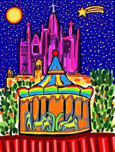 """Ilustración """"Parque de Atracciones Tibidabo Navidad"""". #parque #barcelona #atracciones #ilustración #arte #tibidabo"""