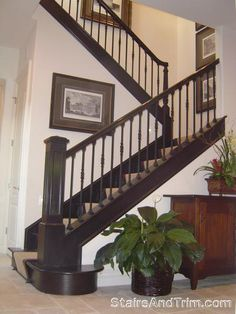 New stair railing option. like the big column. not so much the spindles...