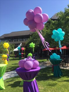 Floating topiary balls with ribbons