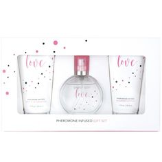 Simply Sexy Love Pheromone Infused Perfume Gift Set - 4 Pcs. Truly. Madly. Deeply. Simply Sexy Love embodies the excitement and passion of romance. Infused with velvety notes of jasmine & sandalwood, breathtaking florals and a sensual touch of vanilla, this pheromone infused fragrance captivates the senses with irresistible desire.