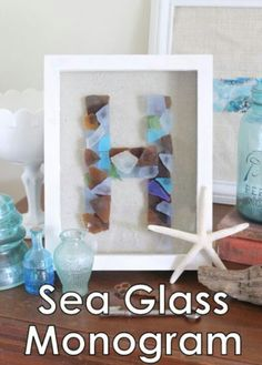 Sea glass monogram, nautical theme