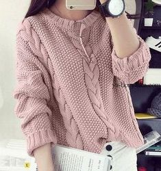 New knitting pullover outfit jumpers Ideas Cardigan Fashion, Knit Fashion, Fashion Outfits, Knitting Designs, Knitting Patterns Free, Lace Knitting, Pull Torsadé, Handgestrickte Pullover, Cable Knit Sweaters