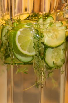 Cucumber Thyme Ginger Infused Spa Water. A third to half a sliced organic cucumber, Mint or thyme, or if you really want to go to town and get a bit french, add a couple little pinches of dried culinary lavender, 1 T ginger, & 1 Slice of lime or lemon. Chop cucumber & gather all your other ingredients put them into a liter pitcher. Add spring water. Cover your pitcher with either a lid or a piece of plastic and let sit over night in the fridge. Serve over crushed ice.