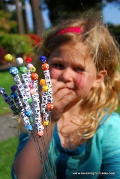 bead garden markers--- super cute idea. Great way to get kids involved and excited about gardening