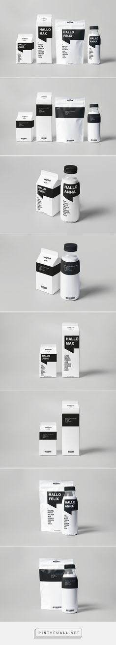 Branding, graphic design and packaging for Milfina Milk packaging design on Behance Philip Kugler Munich, Germany by curated by Packaging Diva PD. Just look what you can do with just black and white.