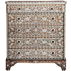 An Ornate Mother-of-Pearl and Bone Inlay Dresser