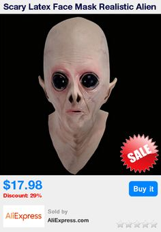 Scary Latex Face Mask Realistic Alien Ufo Extra Terrestrial Party Et Horror Rubber Latex Full Masks For Costume Party Cosplay * Pub Date: 01:45 Apr 17 2017