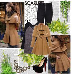 """Women Detachable Fur Collar Khaki Wool Cape Coa"" by fashionsara1987 on Polyvore"