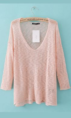 Popular high low three quarters sleeve V-neck sweater pink