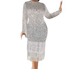 HebeTop Bodycon Dress, Women's Sexy Sequin Glitter Tassel Sleeve V-Neck Mini Club Party Short Pencil Dresses Pencil Dresses, Club Parties, Tassel, Sexy Women, High Neck Dress, Bodycon Dress, Sequins, Glitter, V Neck