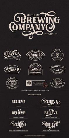 Graphic Design Fonts, Vintage Logo Design, Vintage Fonts, Vintage Typography, Typography Fonts, Typography Design, Branding Design, Graphics Vintage, Cursive Fonts