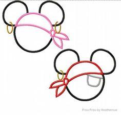 Disney Template Minnie and Mickey Head Pirate