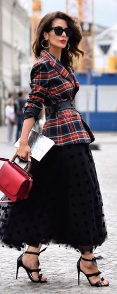 red and black, tulle and wool plaid