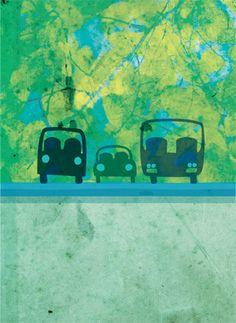 Schilderij van auto voor op de kinderkamer