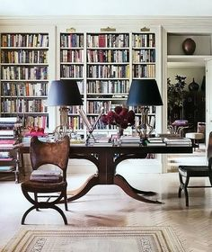 Love the book shelves. Love the desk in the middle of the room but, how do you hide the lamp cords??